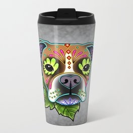 Boxer in White Fawn - Day of the Dead Sugar Skull Dog Metal Travel Mug