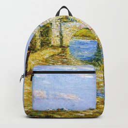 Classical Masterpiece 'Bridge Over the Stour'' by Frederick Childe Hassam Backpack