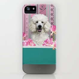 Poodle in Bathtub with Lotos Flowers iPhone Case