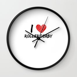 I Love Roller Derby Wall Clock