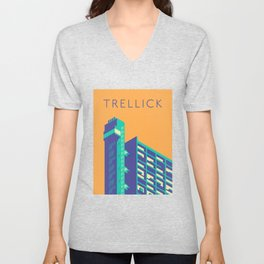 Trellick Tower London Brutalist Architecture - Text Apricot Unisex V-Neck