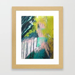 Melt: a vibrant abstract mixed media piece in blues, greens, pink, and white Framed Art Print
