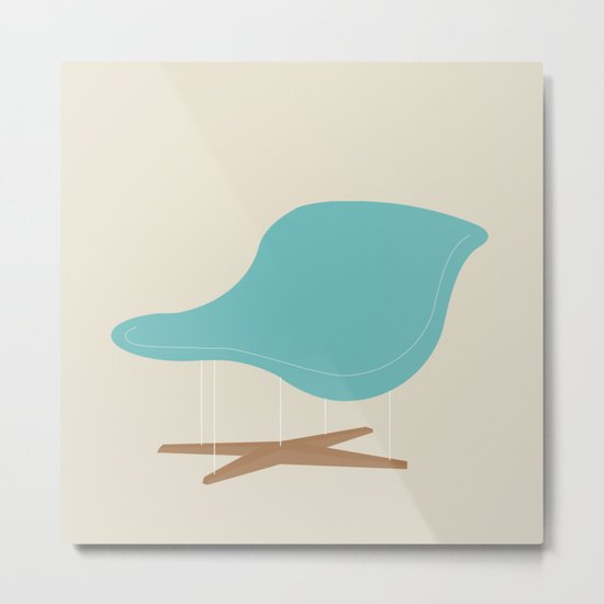 Blue La Chaise Chair by Charles & Ray Eames Metal Print