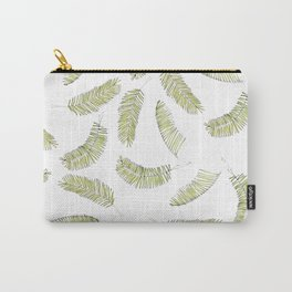 Tropical Beach Palm Leaves (Green and White Repeat Pattern) Carry-All Pouch