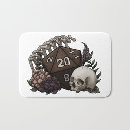 Skeleton D20 Tabletop RPG Gaming Dice Bath Mat
