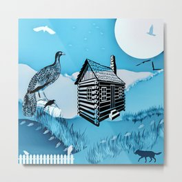 Fox & Pheasant Pastel Metal Print