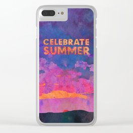 Celebrate Summer Sunset Scene Watercolor Painting Clear iPhone Case