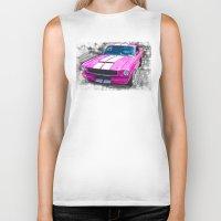 mustang Biker Tanks featuring Pink Mustang  by Paul Stephenson