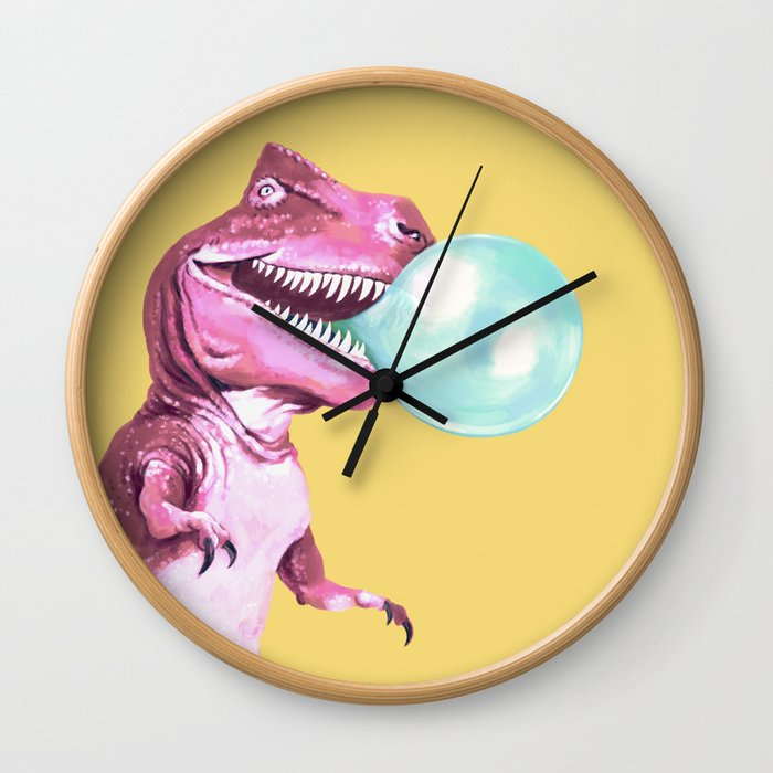 Bubble Gum Pink T-rex in Yellow Wall Clock