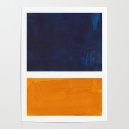 Navy Blue Yellow Ochre Abstract Minimalist Rothko Colorful Mid Century Color Block Pattern Poster