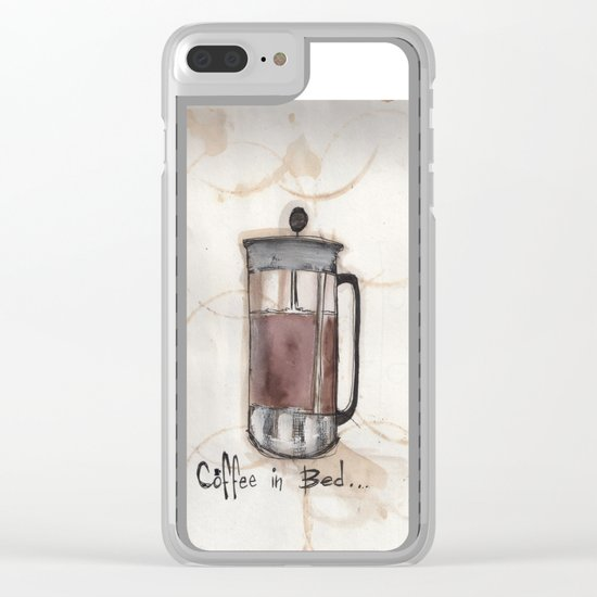 Coffee In Bed Clear iPhone Case
