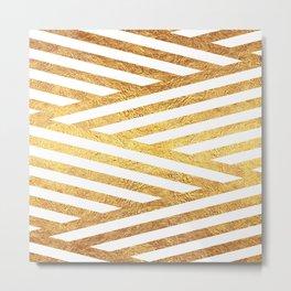 Gold Stripes Metal Print