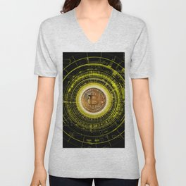 Bitcoin Blockchain Cryptocurrency Unisex V-Neck