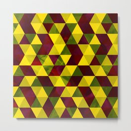 Yellow, green and maroon textured triangles pattern Metal Print
