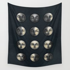 moon phases and textured darkness Wall Tapestry
