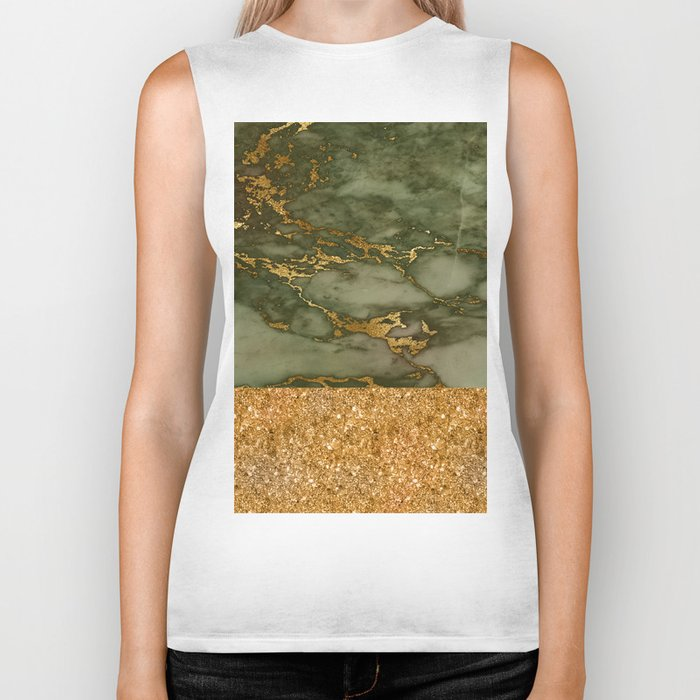 Green Marble with Gold and Glitter Biker Tank