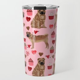 Sharpei valentines day love cupcakes hearts dog breed gifts pet friendly sharpei dogs Travel Mug