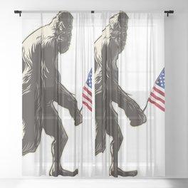 Hide and seek world champion USA Flag shirt bigfoot is real funny Tees Sheer Curtain