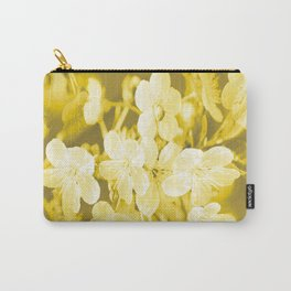Cherry Branches White Flowers Background Golden Yellow Color #decor #society6 #buyart Carry-All Pouch