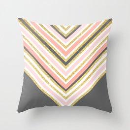 Stylish boho gray pink coral gold faux glitter chevron Throw Pillow