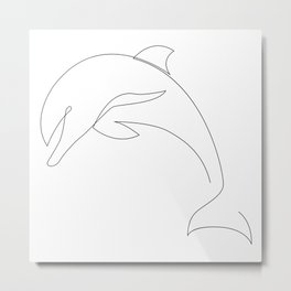 one line dolphin Metal Print