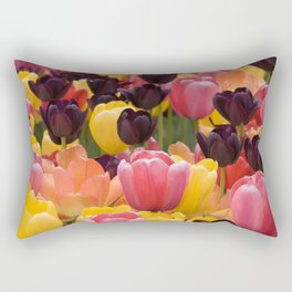 Black Pink and Yellow Tulips by Steve Ricci Rectangular Pillow