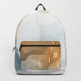Abstract - Golden Depths 2 - Aqua and Gold Textured Design Backpack