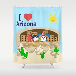 Ernest and Coraline | I love  Shower Curtain