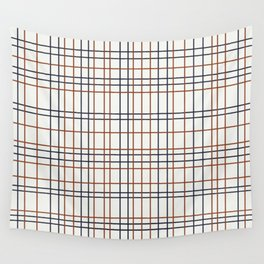Navy and Rust Grid on light grey (almost white) Wall Tapestry