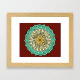 Lovely Healing Mandala  in Brilliant Colors: Burnt Orange, Green, Wheat, Gray, and White Framed Art Print