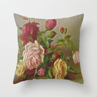 vintage flowers Throw Pillows featuring Vintage Flowers by Lucia