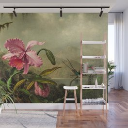 Classical masterpiece Orchids And Hummingbirds by Martin Johnson Heade Wall Mural