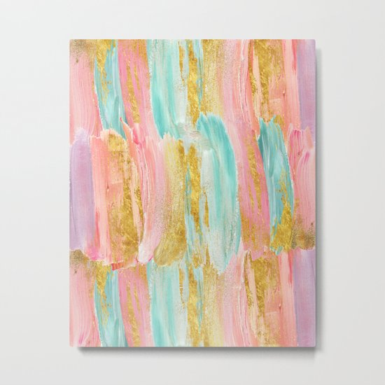 Gilded pastels Metal Print