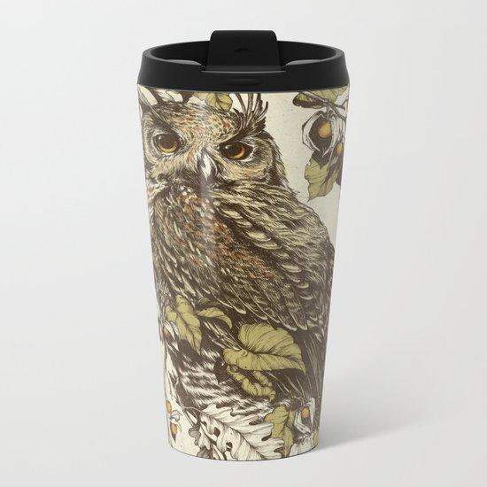 Great Horned Owl Metal Travel Mug