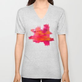 """Abstract brushstrokes in pastel pinks and solar orange"" Unisex V-Neck"