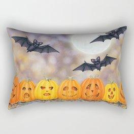 jack o'lanterns with bats in the moonlight Rectangular Pillow