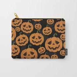 Jack O Lantern Halloween Pattern on Black Carry-All Pouch