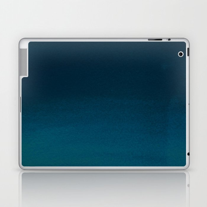 Navy blue teal hand painted watercolor paint ombre Laptop & iPad Skin