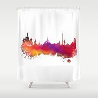 moscow Shower Curtains featuring Moscow skyline by jbjart