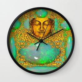 PRECIOUS GREEN FIRE OPALS & GOLD BUDDHA Wall Clock