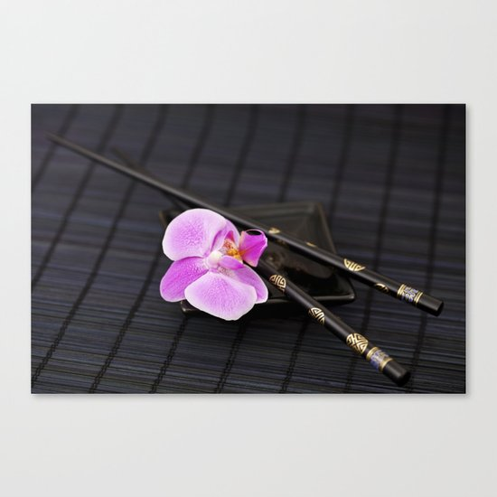 Zen pink Orchid flower on black Canvas Print