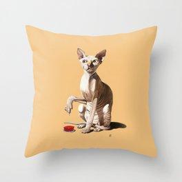 Cat-astrophe (Colour) Throw Pillow