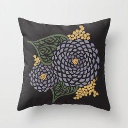 Dark Geometric Flower Throw Pillow