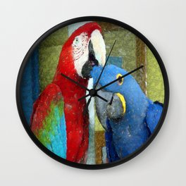 Red and Blue Macaws Crackle Print Wall Clock