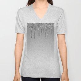 Gray & Silver Glitter Drips Unisex V-Neck