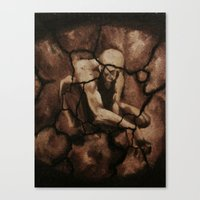 queens of the stone age Canvas Prints featuring The Stone-Age Man by Gerardo Diaz