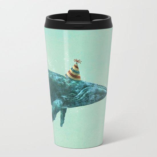 Party Whale - colour option  Metal Travel Mug