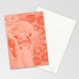Ghostly alpaca and mandala in Fiesta Red Stationery Cards