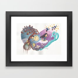 Heart Painting of Girl and Penguins Leaving Boy On His Planets of Cages and Ducks and Boy on Differe Framed Art Print