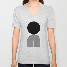 Abstraction_BLACK_DOT_LINE_ART_Minimalism_003C Unisex V-Neck